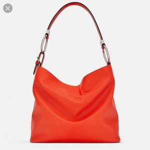 Zara coral bucket bag with rings